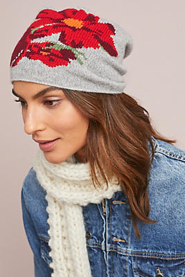 Cashmere Winter Blooms Beanie by Kitted In Cashmere X Anthropologie