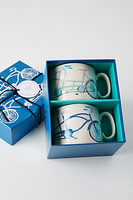 Slide View: 4: A Bicycle For Two Mugs, Set of 2