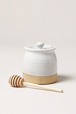 Farmhouse Pottery Beehive Honey Pot And Wooden Dipper by Farmhouse Pottery