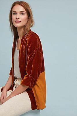 Slide View: 1: Two-Toned Velvet Kimono