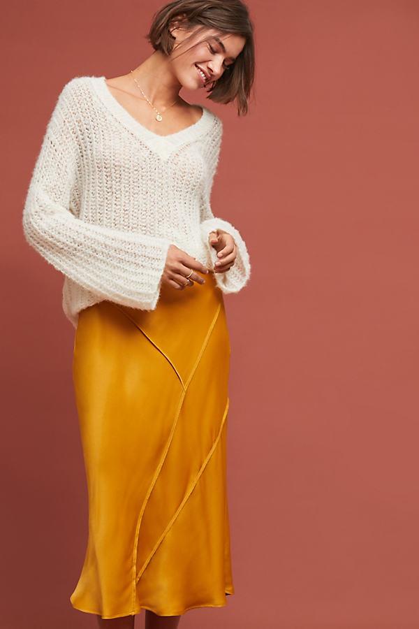 Phoebe Silky Skirt - Gold, Size Xs