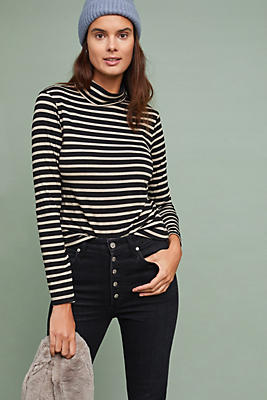 Slide View: 1: Striped Shine Turtleneck