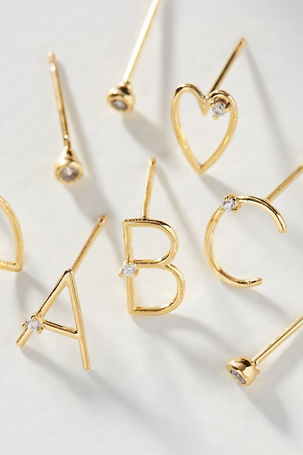 Holiday Cheers Monogram Post Earring Set | Anthropologie