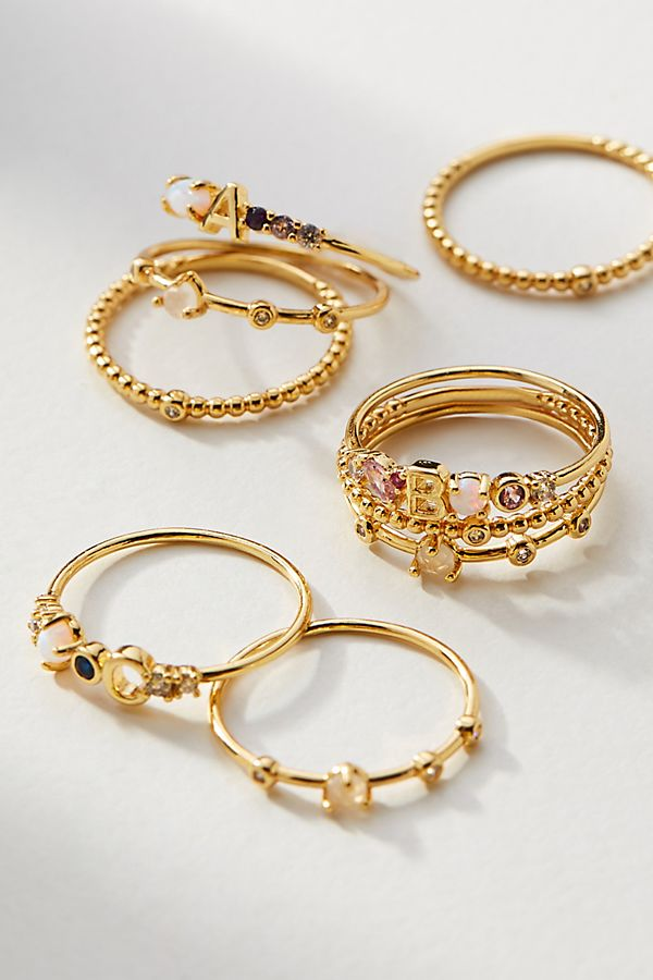Monogram Stacker Ring Set | Anthropologie