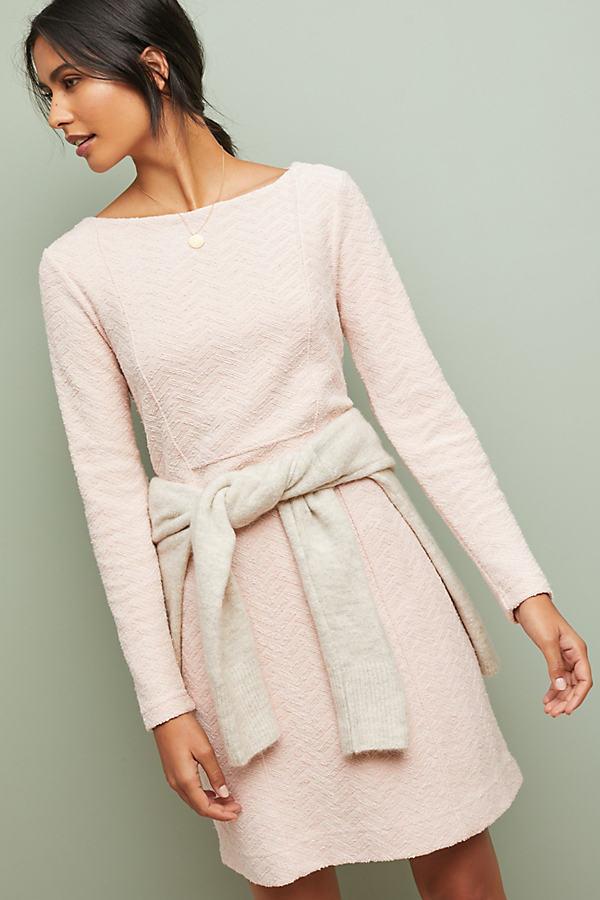 Textured Chevron Dress - Pink, Size L