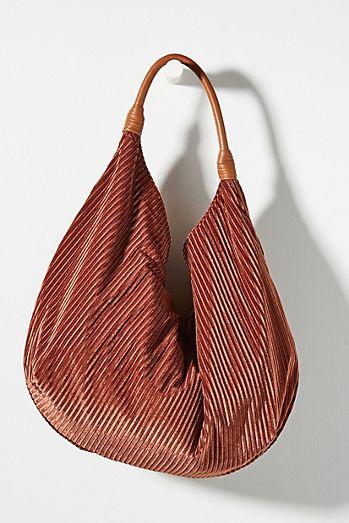 Corded Velvet Slouchy Tote Bag