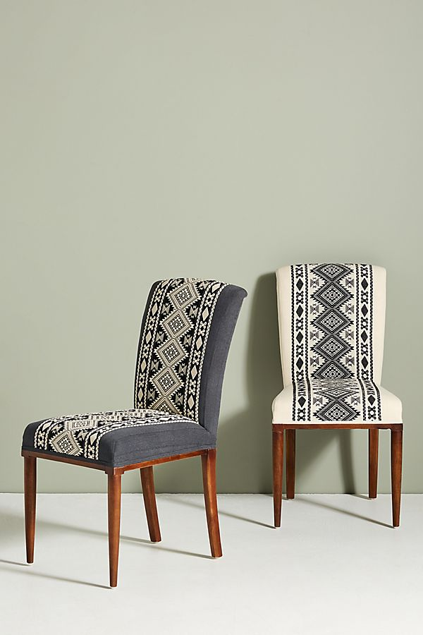 Slide View: 1: Diamond-Striped Elza Dining Chair