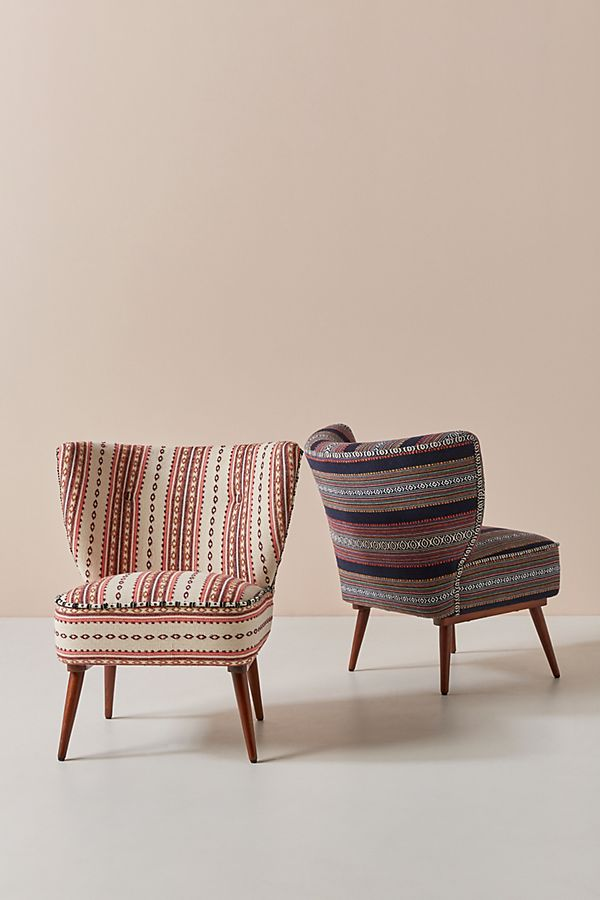 Slide View: 1: Striped Rug-Printed Accent Chair