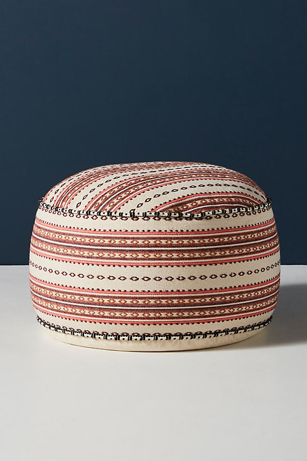 Striped Rug-Printed Pouf - White