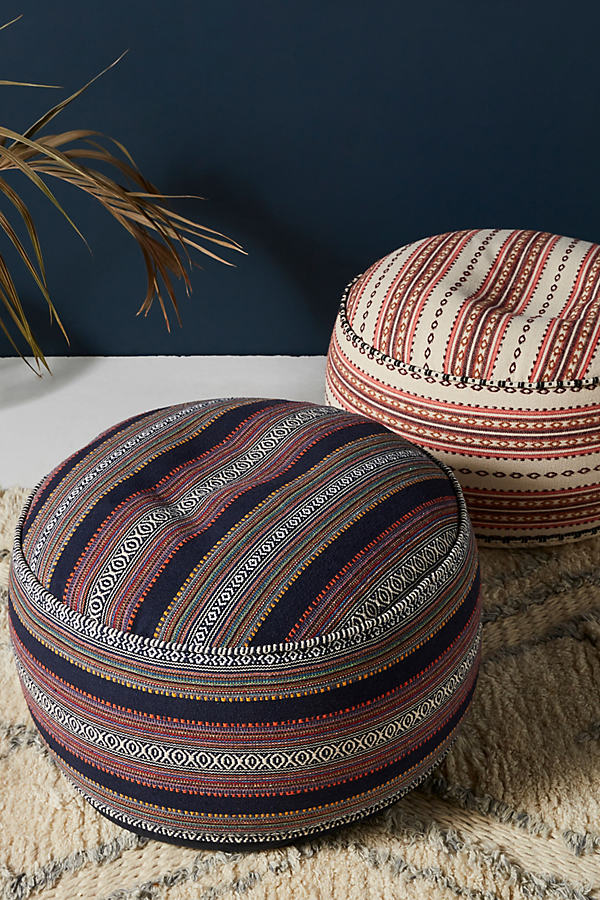 Striped Rug-Printed Pouf - Blue