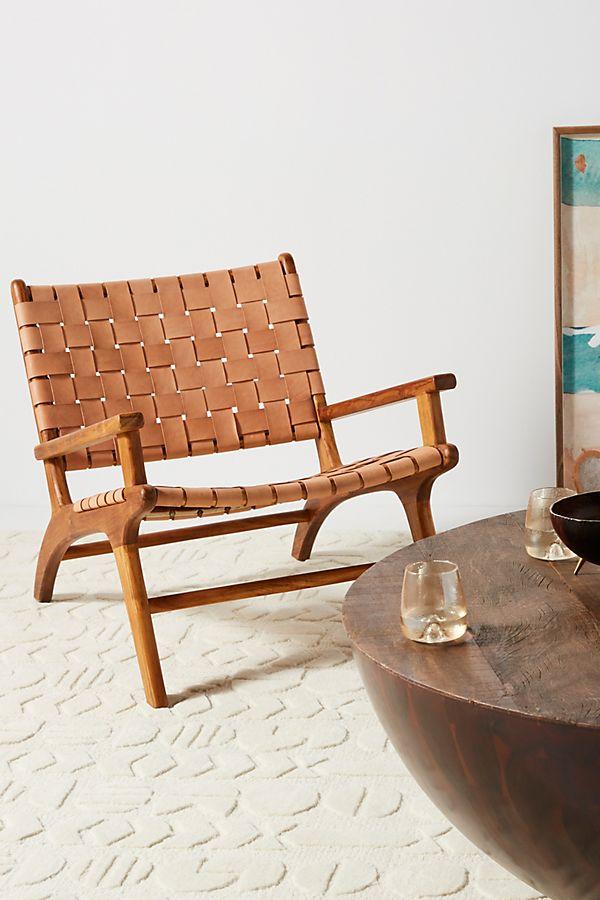 Slide View: 1: Kamara Leather-Loomed Chair