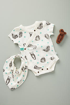 Slide View: 1: Sloth Romper Baby Gift Set