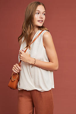 Slide View: 1: Sleeveless Surplice Top