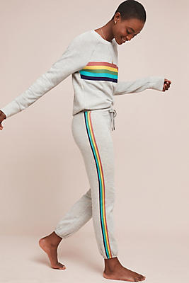 Slide View: 1: Sundry Rainbow-Striped Sweatpants