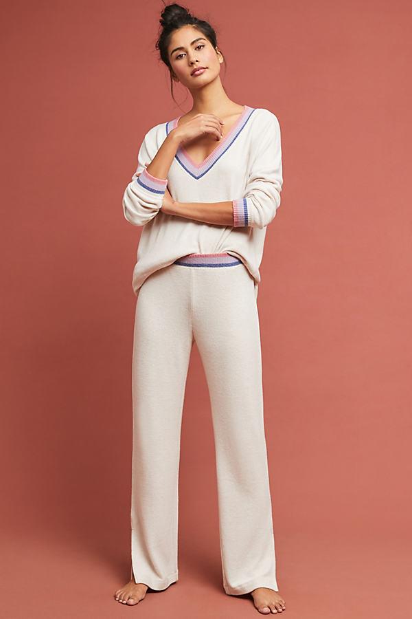 Vikki Striped Flared-Trousers - Beige, Size Xl
