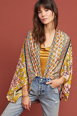 Slide View: 1: Floral Silk Cocoon Kimono