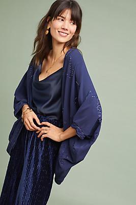 Slide View: 1: Ana Embroidered Cocoon Kimono
