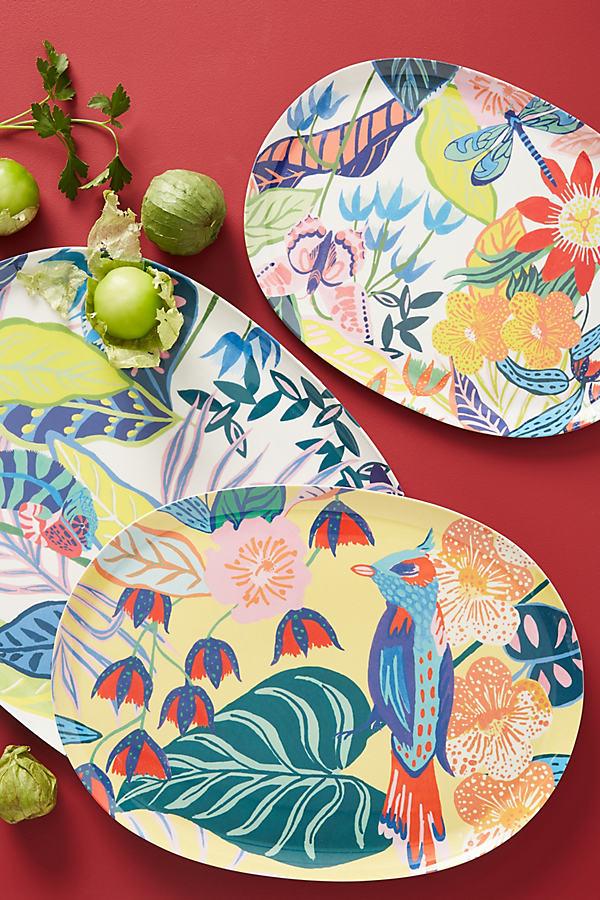 Set of 3 Tropical Melamine Platters - Assorted, Size Set Of 3