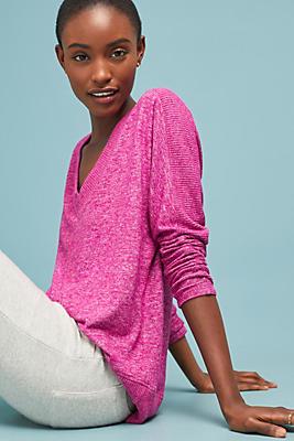 Slide View: 1: Brushed Fleece V-Neck Pullover