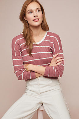 Slide View: 1: Striped Waffle Top