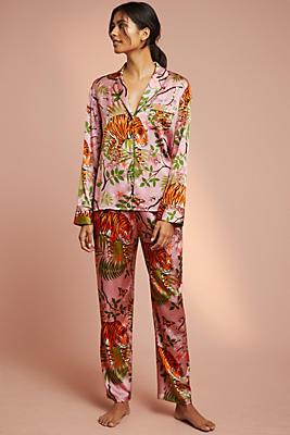 Slide View: 1: Karen Mabon Tiger Blossom Silk Sleep Pants