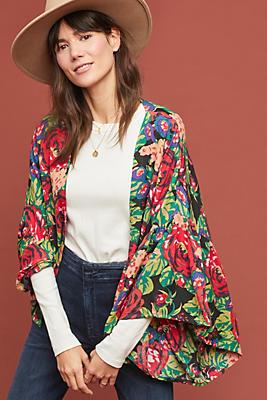 Slide View: 1: Painterly Florals Kimono