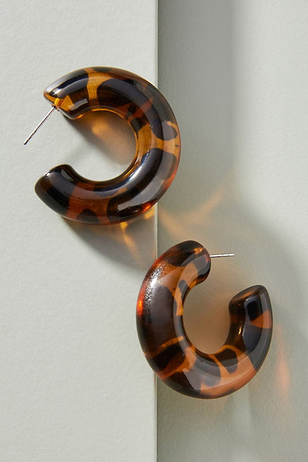 Rachael Resin Hoop Earrings - Brown