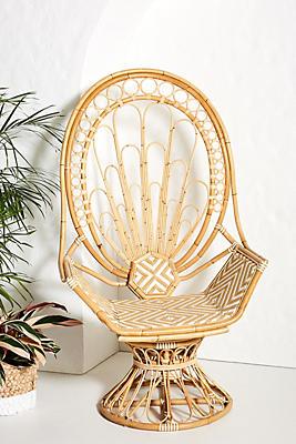 Slide View: 1: Peacock Rattan Indoor/Outdoor Chair