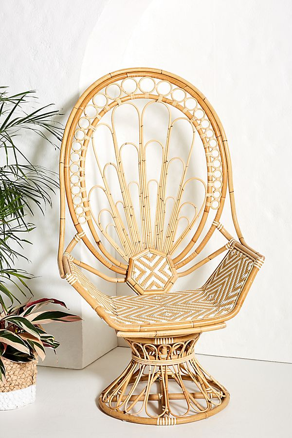 Slide View: 1: Peacock Rattan Indoor/Outdoor Chair