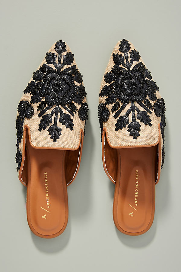 Therese Beaded Mules - Black, Size 36