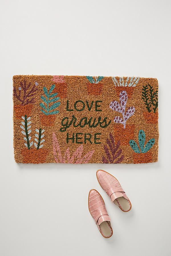 Love Grows Here Doormat - Green