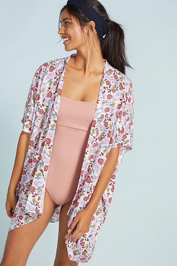 Allihop Pick-a-Pansy Kimono - White, Size Xl