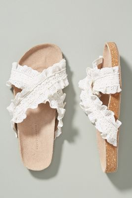 dbcb33aeba9 Anthropologie Bianca Ruffled Slide Sandals  98