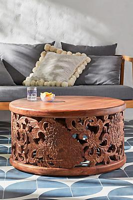 Slide View: 1: Handcarved Lotus Coffee Table