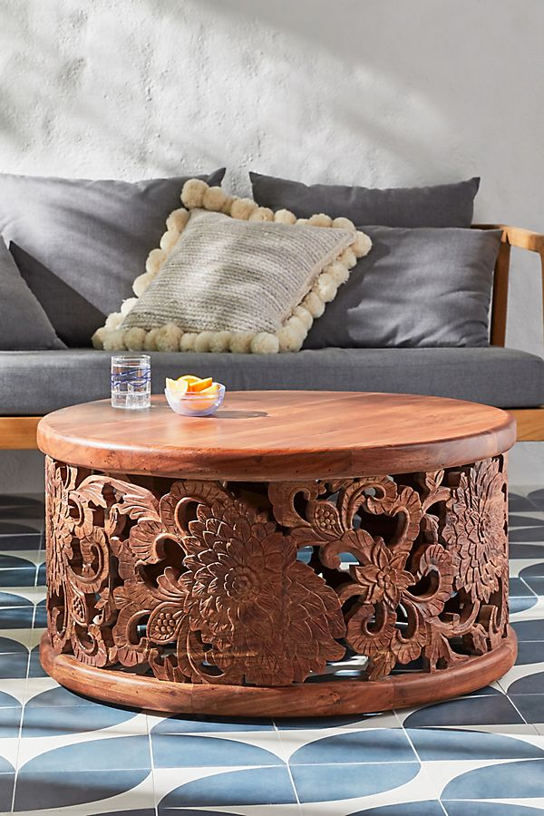Slide View: 1: Handcarved Lotus Coffee Table