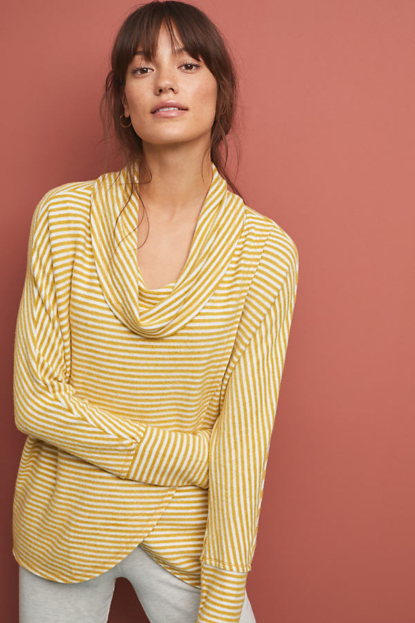 Homebound Cowl-Neck Tunic Top - Gold, Size Xl