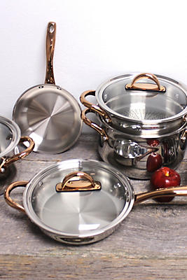 Slide View: 2: BergHOFF Ouro Gold 11-Piece 18/10 Stainless Steel Cookware Set