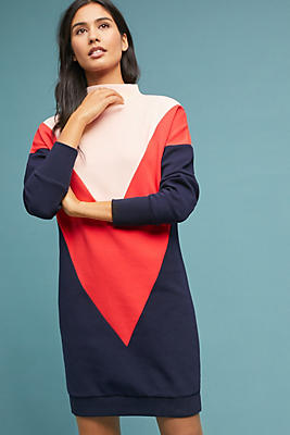 Slide View: 1: Colorblocked Chevron Dress