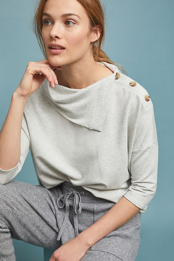 Slide View: 1: Buttoned Terry Pullover
