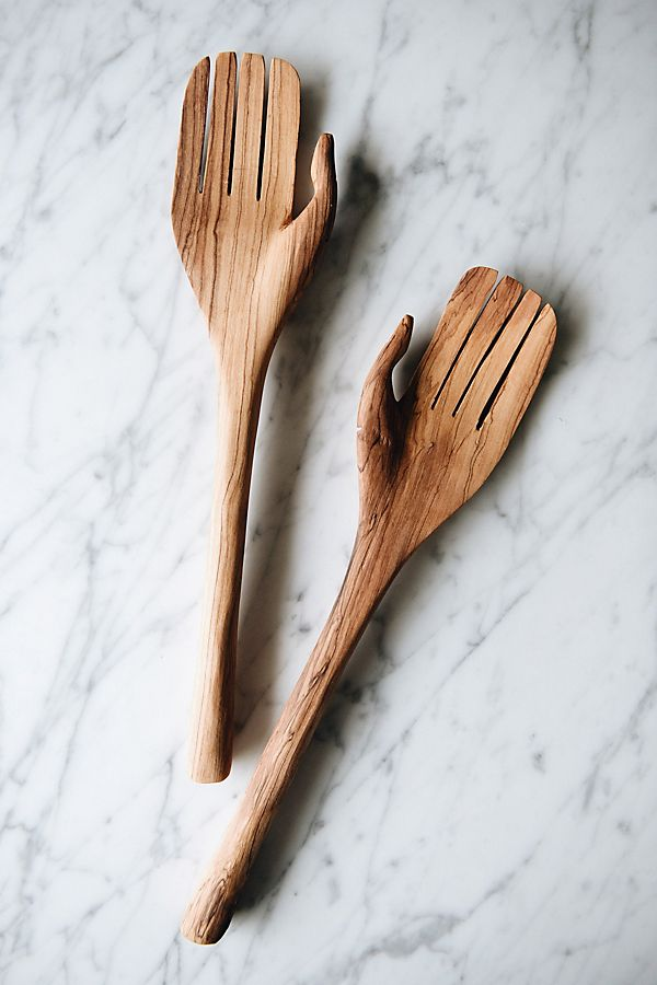 Slide View: 1: Connected Goods Olive Wood Hand Salad Servers