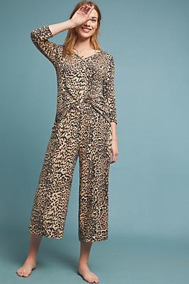 Slide View: 1: Leopard Brushed Fleece Pants