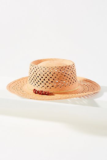 Beaded Straw Boater Hat ba007a243d