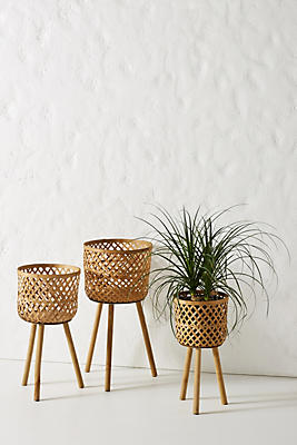 Slide View: 1: Bamboo Plant Stands, Set of 3