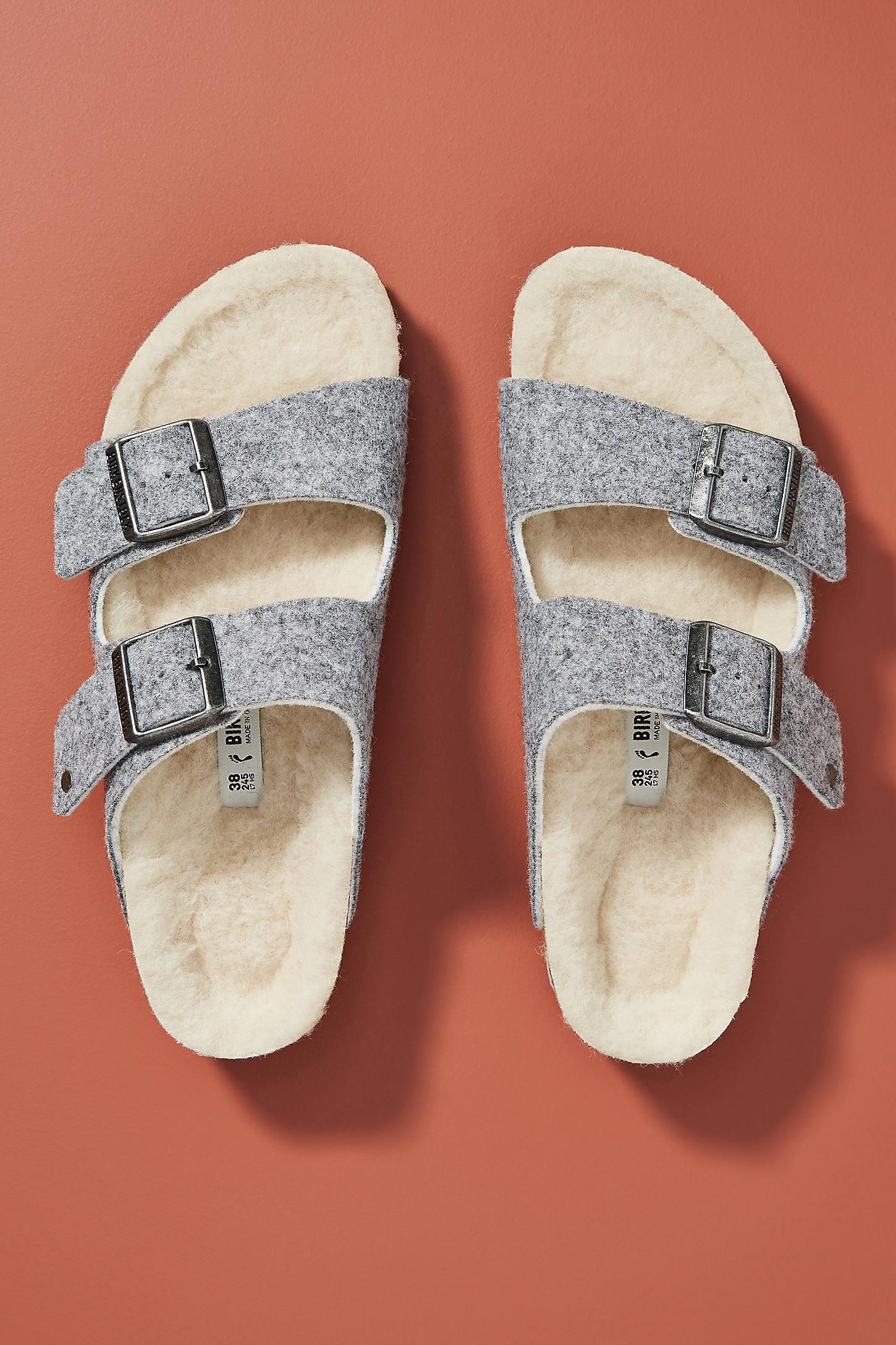 Birkenstock Fleece Arizona Sandals In Grey