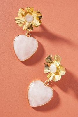 bde177aa1924 Nicola Bathie Jewelry Flower Heart Drop Earrings  158