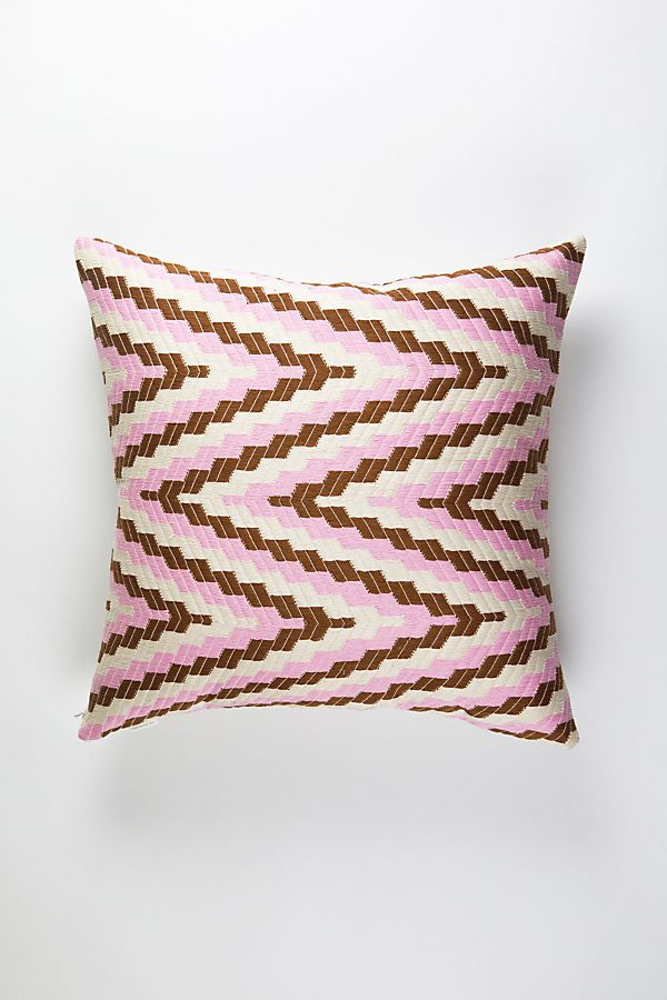 Slide View: 1: Archive New York Almolonga Pink & Umber Zig Zag Pillow