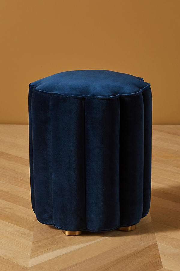 Soho Home x Anthropologie Adriana Velvet Pouf - Blue