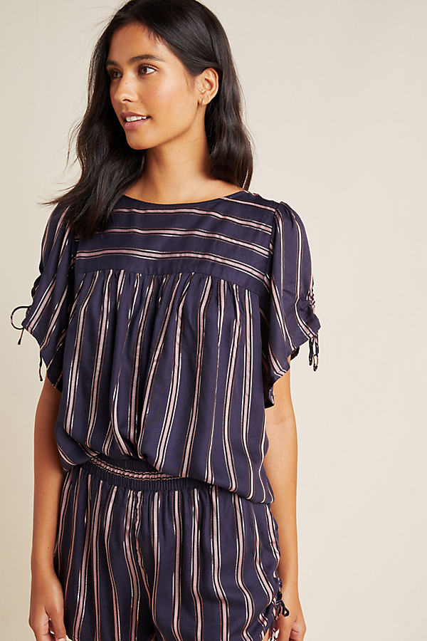 Striped Tie-Detailed Top - Blue, Size S