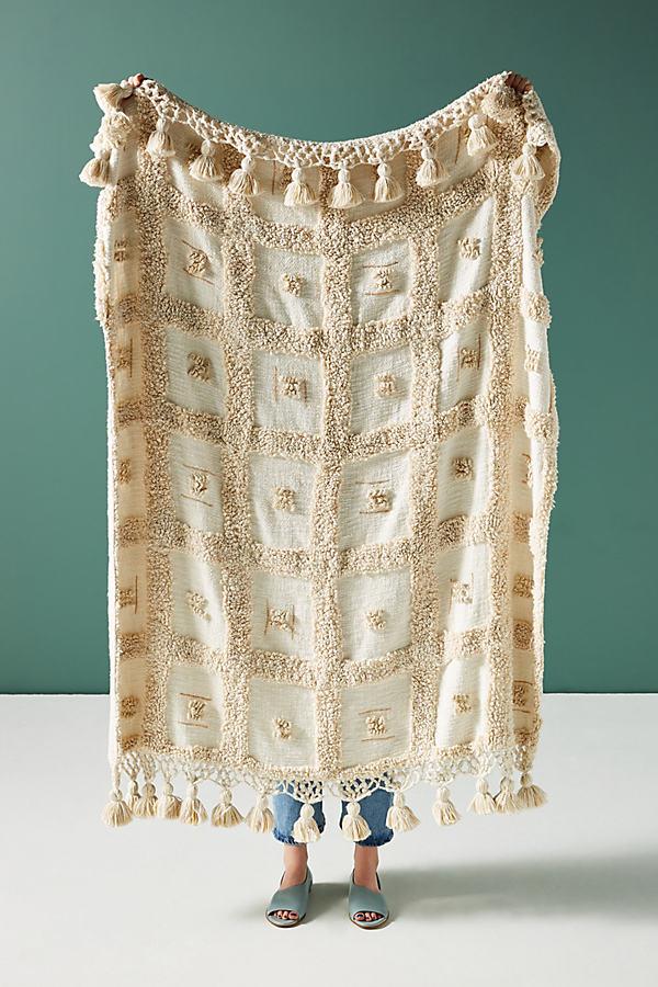 Tasseled Tero Throw Blanket - Beige