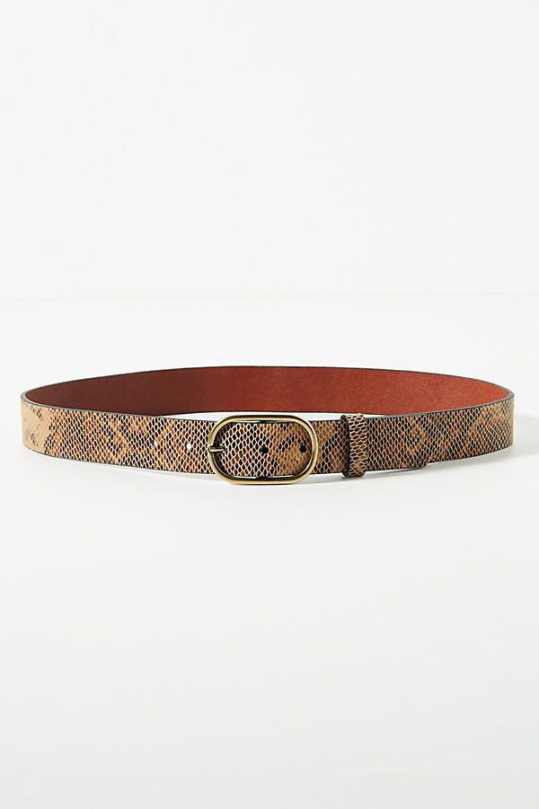 Snake-Printed Leather Belt - Beige, Size S